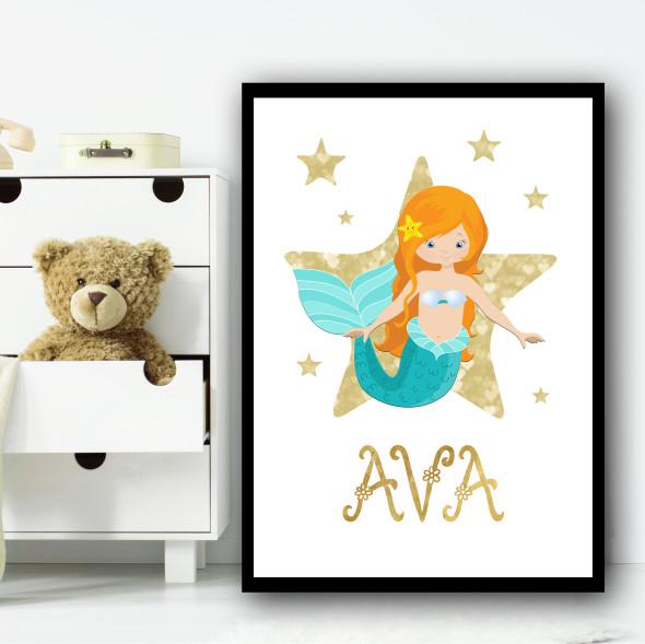 Cartoon Mermaid Ginger Gold Star Any Name Personalised Wall Art Print