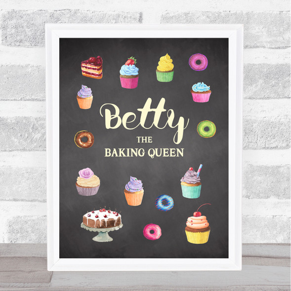 Chalk Cakes Baking Queen Any Name Personalised Wall Art Print