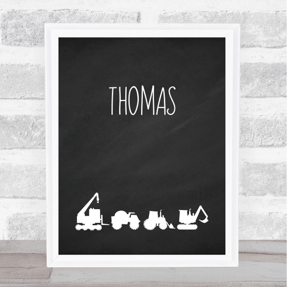Chalk Construction Vehicles Silhouette Any Name Personalised Wall Art Print