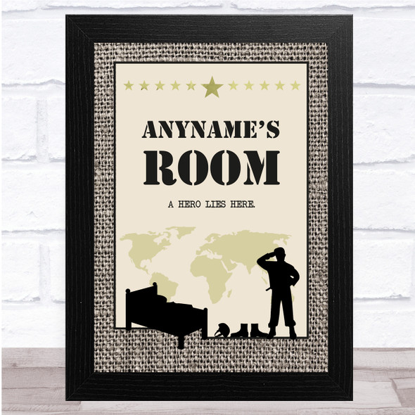 Army Room Hero Lies Here Texture Any Name Personalised Wall Art Print