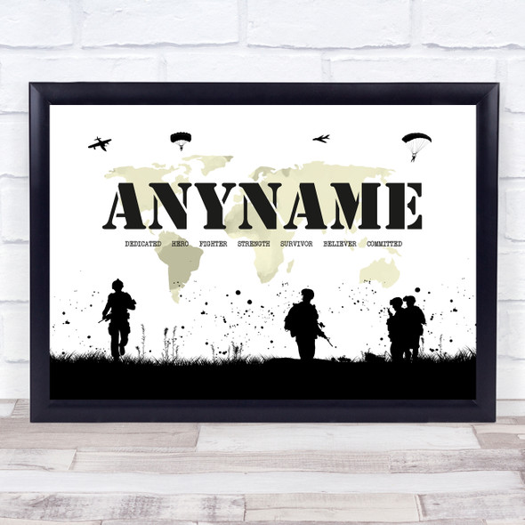 Army Silhouette Map Any Name Personalised Wall Art Print