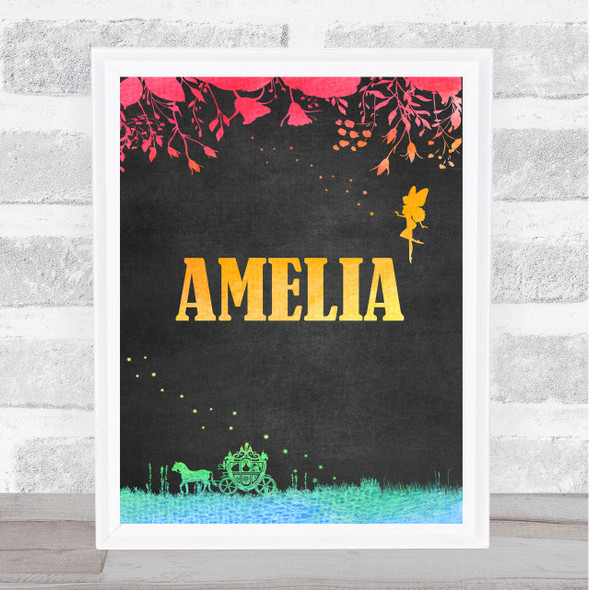 Fairy Horse And Carriage Chalk Rainbow Floral Personalised Wall Art Print
