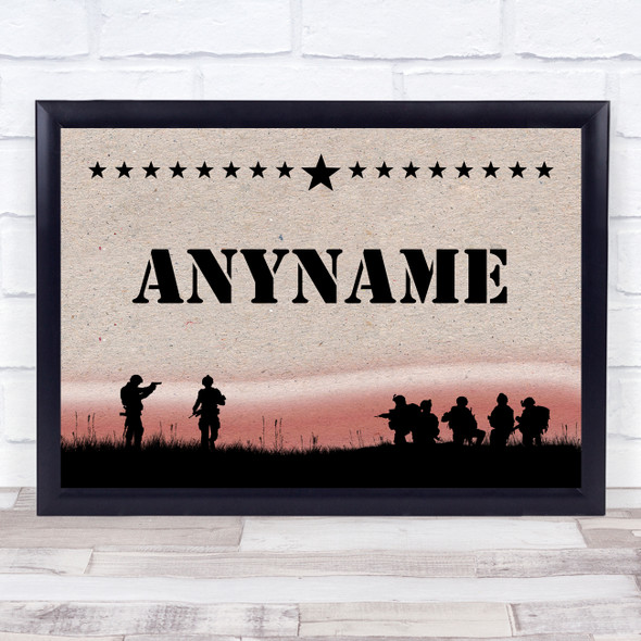 Army Silhouette Texture Red Sunset Any Name Personalised Wall Art Print