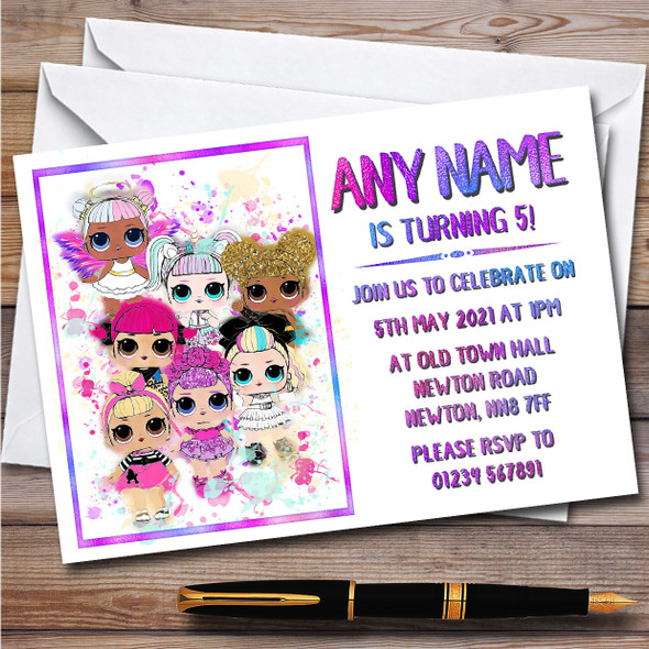 Lol Dolls Gang Splatter Art Children's Personalised Birthday Party Invitations