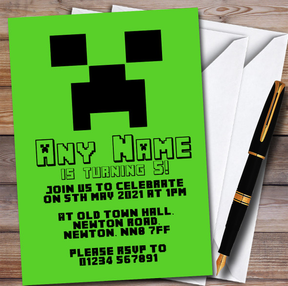 Minecraft Creeper Children's Kids Personalised Birthday Party Invitations