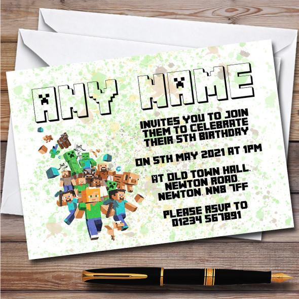 Minecraft Let The Fun Begin Splatter Art Children's Birthday Party Invitations