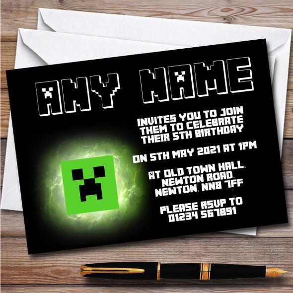 Minecraft Neon Glow Creeper Children's Personalised Birthday Party Invitations