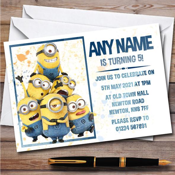 Minions Group Tower Splatter Art Children's Birthday Party Invitations