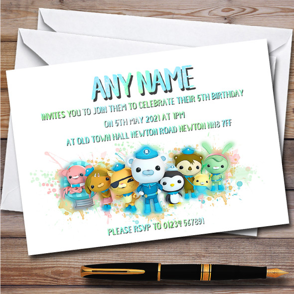 Octonauts The Gang Splatter Art Children's Birthday Party Invitations