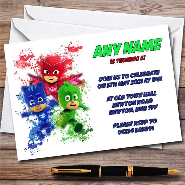 Pj Masks Gang Splatter Art Children's Personalised Birthday Party Invitations