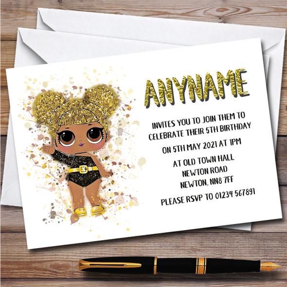 Queen Bee Surprise Lol Doll Splatter Art Children's Birthday Party Invitations