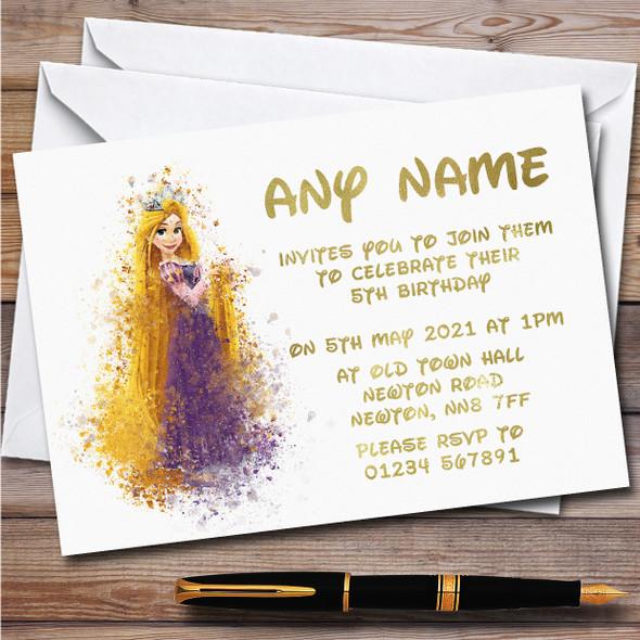 Rapunzel Watercolour Splatter Children's Personalised Birthday Party Invitations