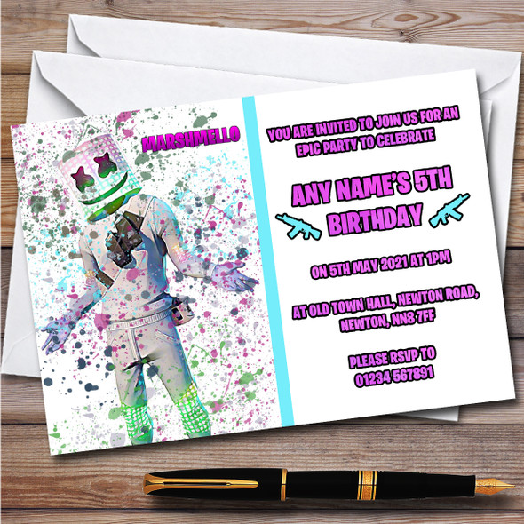 Splatter Art Gaming Fortnite Marshmello Children's Birthday Party Invitations