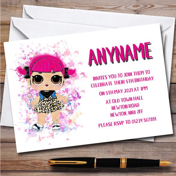 Cherry Surprise Lol Doll Splatter Art Children's Birthday Party Invitations