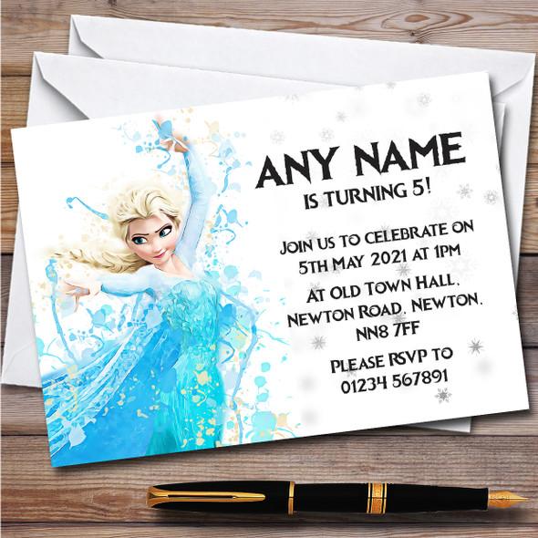 Elsa Frozen Disney Splatter Art Children's Birthday Party Invitations