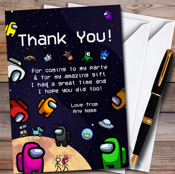Among Us Characters & Pets In Space Children's Birthday Party Thank You Cards