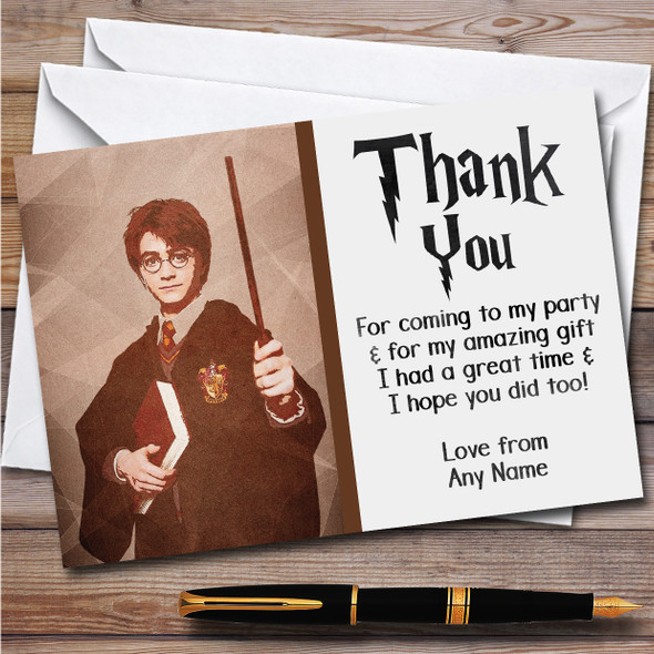 Harry Potter Retro Fade Children's Personalised Birthday Party Thank You Cards