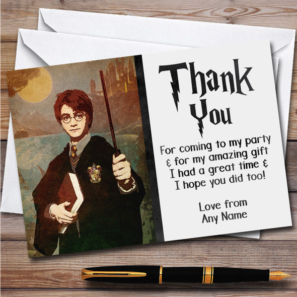 Harry Potter Vintage Children's Kids Personalised Birthday Party Thank You Cards