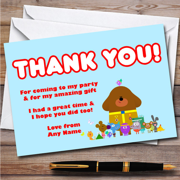 Hey Duggee Hey Children's Kids Personalised Birthday Party Thank You Cards