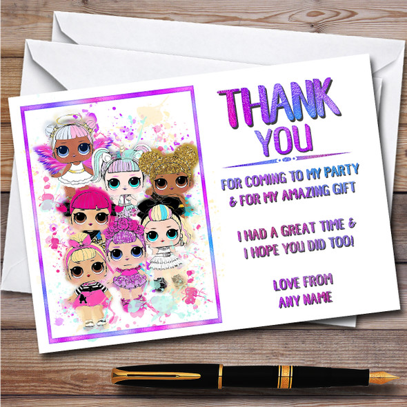 Lol Dolls Gang Splatter Art Children's Birthday Party Thank You Cards