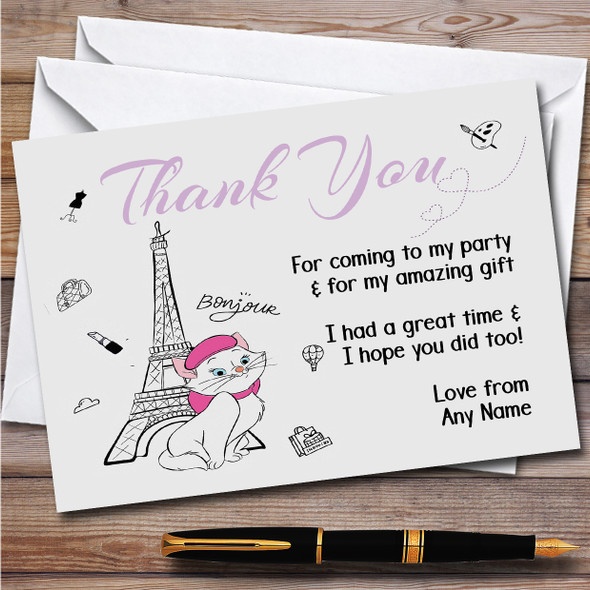 Marie The Aristocats Paris Children's Birthday Party Thank You Cards