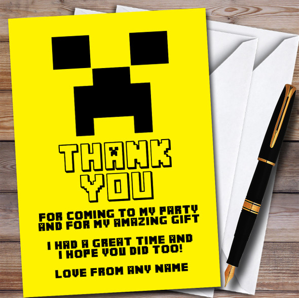 Minecraft Creeper Yellow Children's Personalised Birthday Party Thank You Cards