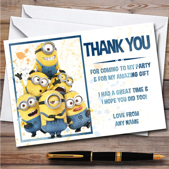 Minions Group Tower Splatter Art Children's Birthday Party Thank You Cards