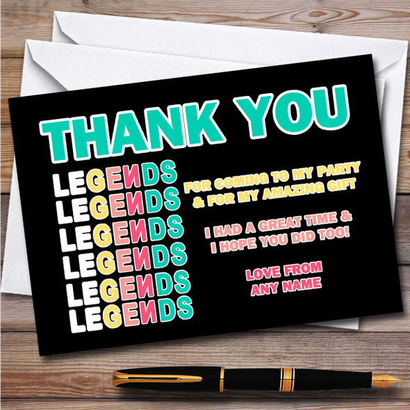 Norris Nuts You Tubers Legends Black Children's Birthday Party Thank You Cards
