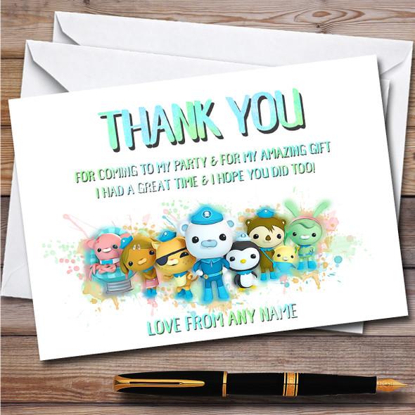 Octonauts The Gang Splatter Art Children's Birthday Party Thank You Cards