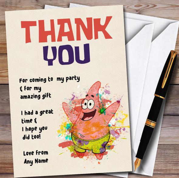 Patrick Star Watercolour Splatter Spongebob Birthday Party Thank You Cards