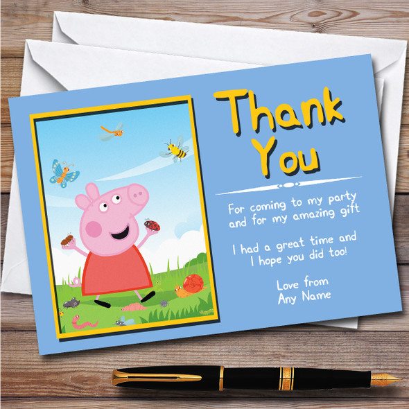 Peppa Pig Butterfly Children's Kids Personalised Birthday Party Thank You Cards