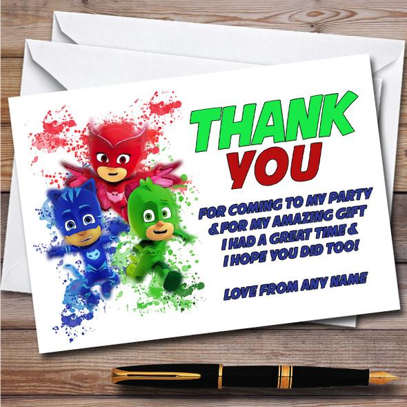 Pj Masks Gang Splatter Art Children's Birthday Party Thank You Cards