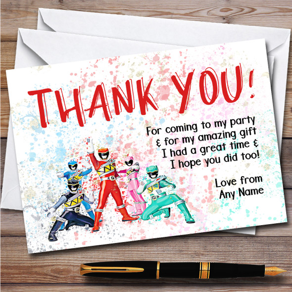 Power Rangers Dino Charge Splatter Art Children's Birthday Party Thank You Cards