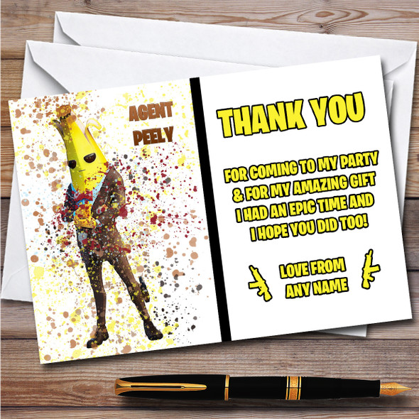 Splatter Art Gaming Fortnite Agent Peely Birthday Party Thank You Cards