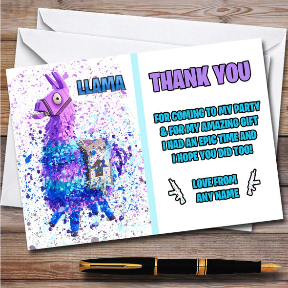 Splatter Art Gaming Fortnite Llama Children's Birthday Party Thank You Cards