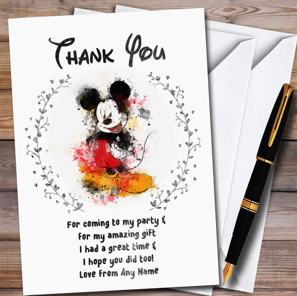 Disney Mickey Mouse Watercolour Splatter Style Birthday Party Thank You Cards