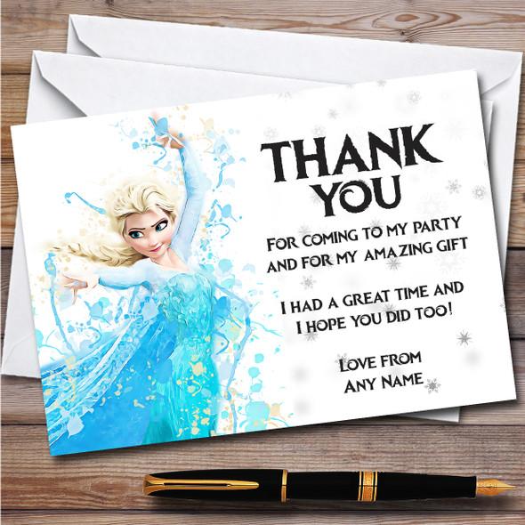 Elsa Frozen Disney Splatter Art Children's Birthday Party Thank You Cards