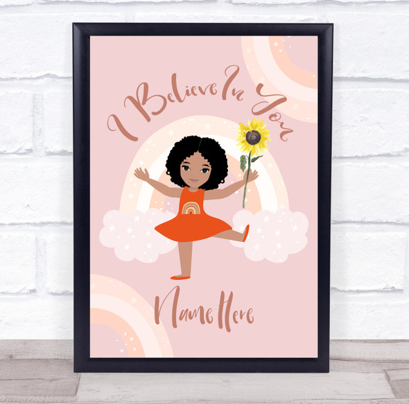 Personalised I Believe In You Sunflower Rainbows Wall Art Print