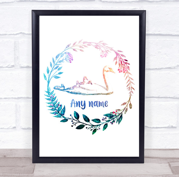 Personalised Swan Multicolour Floral Wreath Wall Art Print