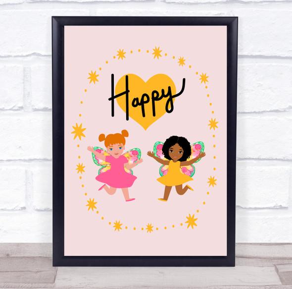 Happy Heart And Stars Kid Fairy Wall Art Print