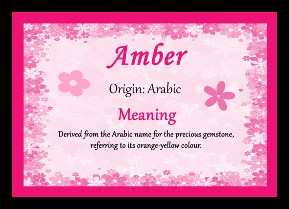 Amber Personalised Name Meaning Mousemat