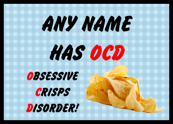 Funny Obsessive Disorder Crisps Blue Personalised Computer Mousemat