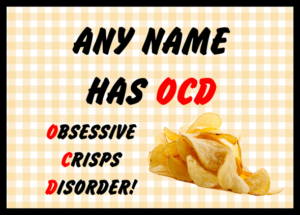 Funny Obsessive Disorder Crisps Yellow Personalised Computer Mousemat