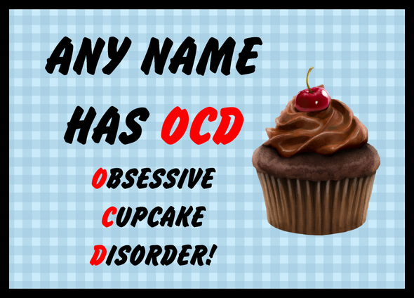 Funny Obsessive Disorder Cupcake Blue Personalised Computer Mousemat