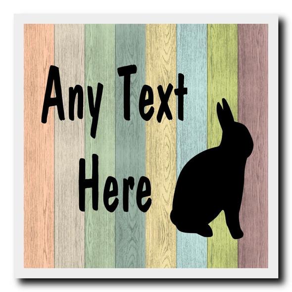 Pastel Wood Rabbit Personalised Drinks Mat Coaster