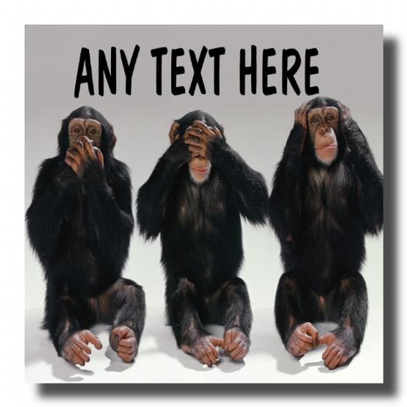 3 Monkeys Personalised Drinks Mat Coaster