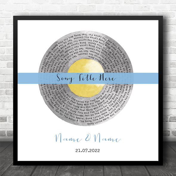 Grey Yellow Blue Square Vinyl Record Any Song Lyric Personalised Music Art Print
