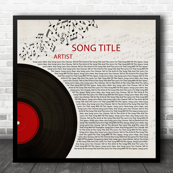Half Record & Music Notes Square Any Song Lyric Personalised Music Art Print