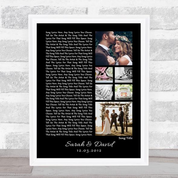 3 or 6 Square Wedding Photos  Black Side Script Any Song Lyric Wall Art Print