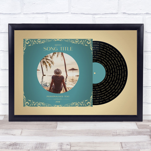 Gold Green Record Sleeve Your Photo Any Song Lyric Wall Art Print